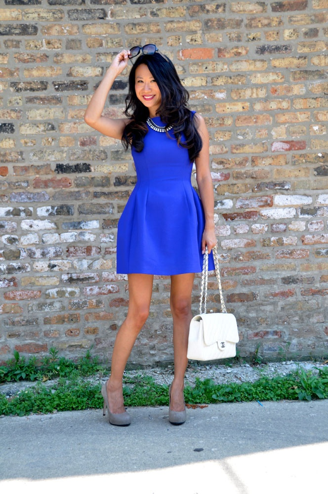 Cobalt blue dress with white Chanel jumbo flap