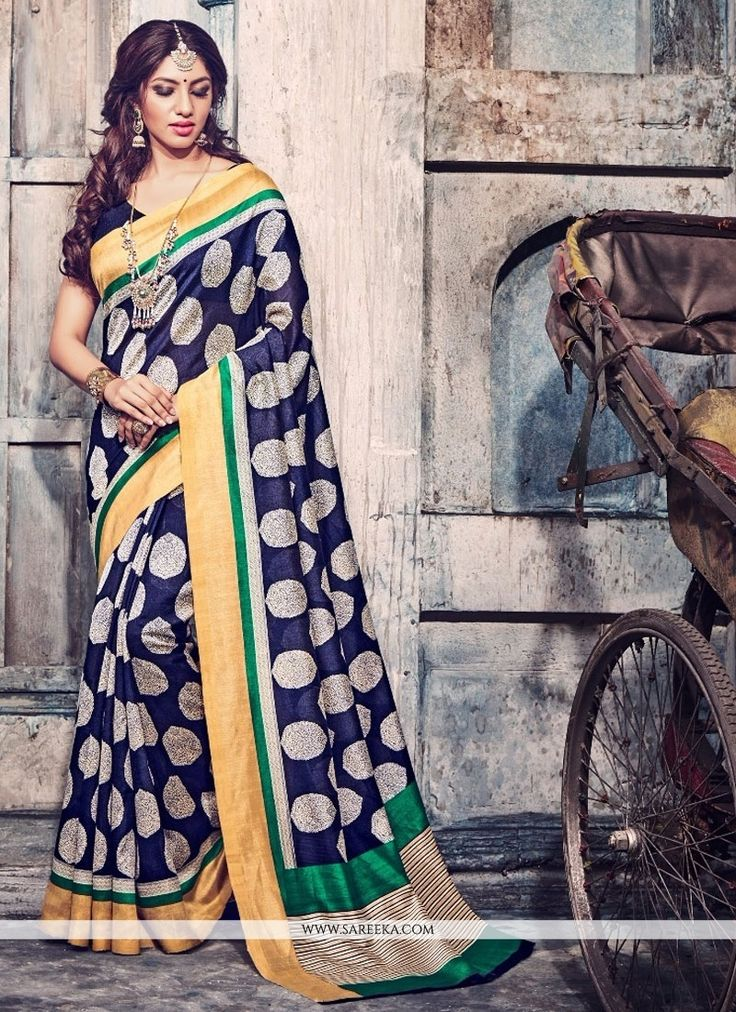 Grab the second look in this elegant attire for this season. True elegance can come out from your dressing style with this multi colour bhagalpuri silk casual saree. Look ravishing clad in such a dres...