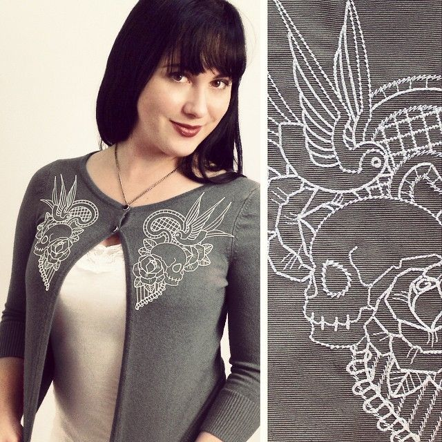 Embroidered kitsch tattoo inspired cardigan