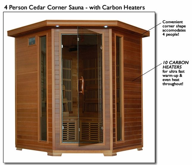 Whistler 4 Person Cedar FAR Infrared Corner Sauna Carbon Heater SA1312