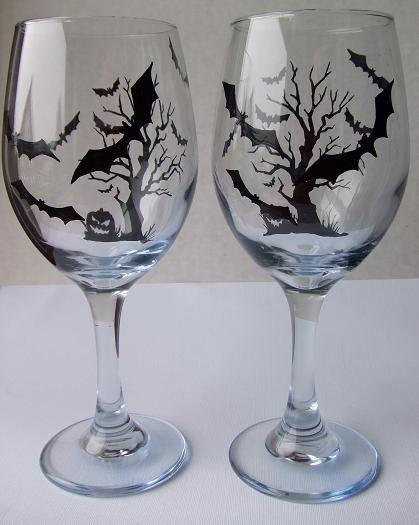 Hand Painted Halloween Wine Glasses