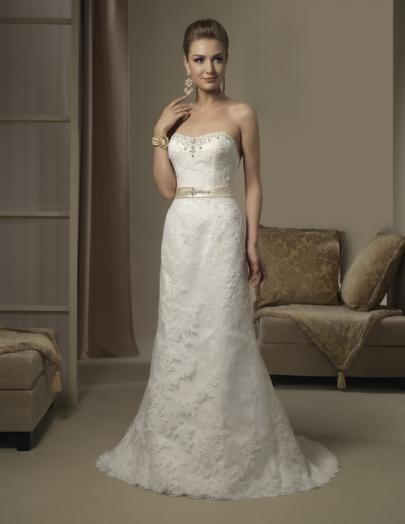 Lace, imperial satin and charmeuse wedding gown in ivory and vanilla.