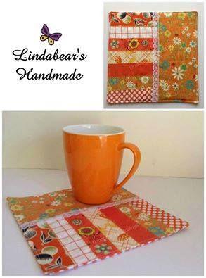 Made by Lindabears Handmade Patchwork Mug Rug - Orange