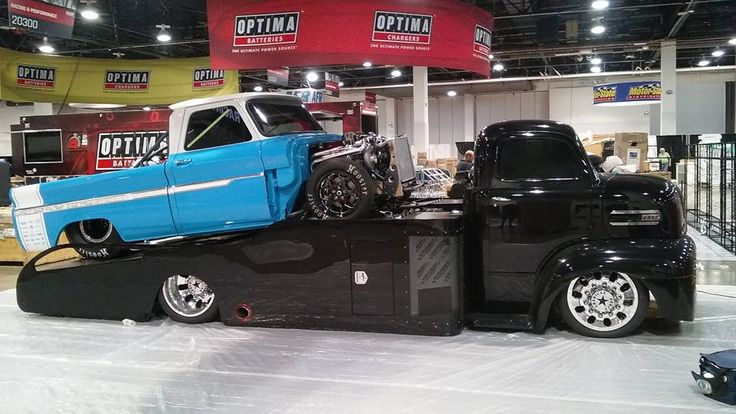2016 Ford Trucks >> Ford COE with a 64-66 Chevy on the dovetailed flatbed car hauler bed. SEMA 2016 | Vehicles: COE ...