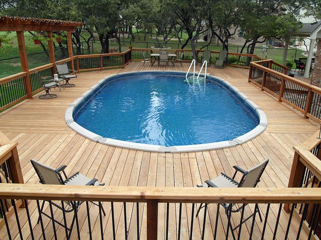 Expansive and nice above ground pool decks pinterest for Above ground oval pool deck plans