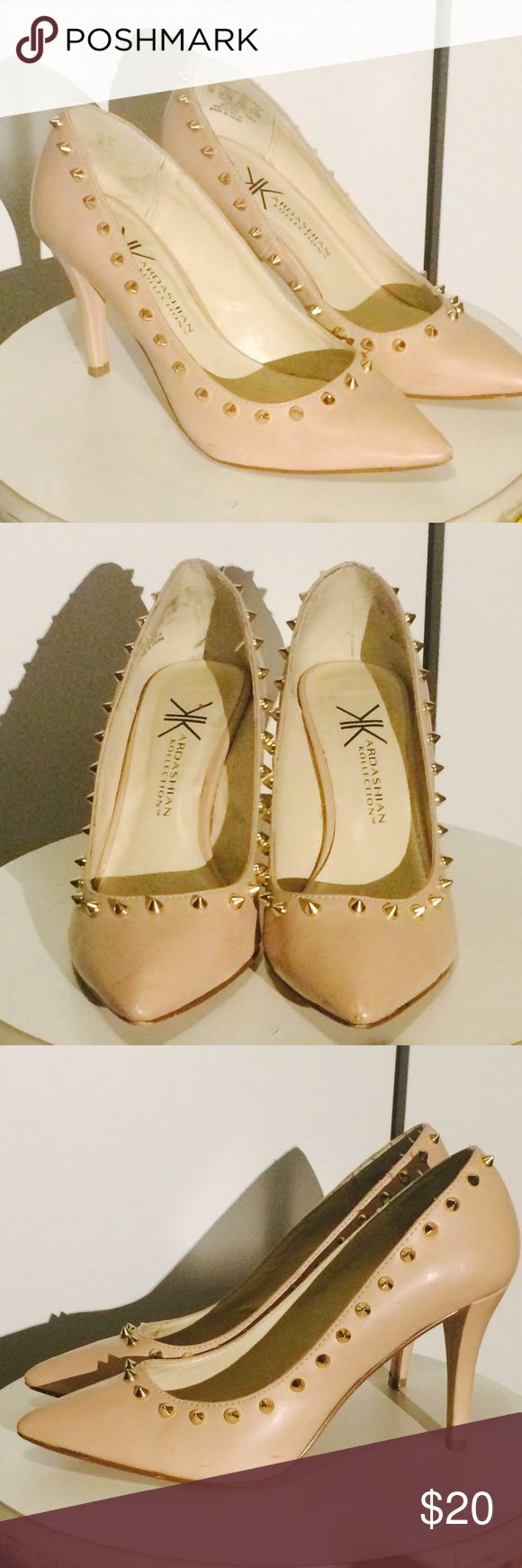 Kardashian Kollection Gold Studded Heels Size 7. Purchased used, never used them myself though. Thought someone else might get some use out of these babies! :) Light scratches, nothing terrible for my liking. :) (see pictures above) Kardashian Kollection Shoes Heels