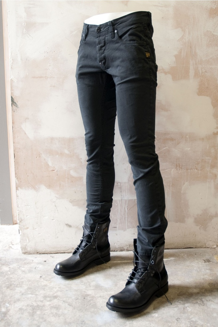 G Star Mens Jeans: Defend Super Slim Black Jeans.   This pair of black skinny jeans fits perfect with the G-Star Raw Boots Patton III Marker Black - all available @ http://bootsjeansandleathers.com/