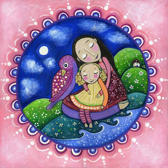 Mother Child and Little Bird Art Print by LindyLonghurst on Etsy, $20.00