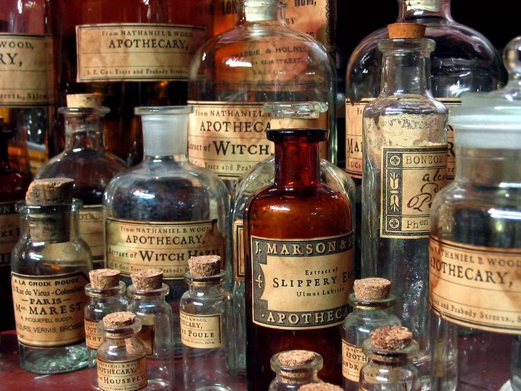 Apothecary ~ labeled remedy bottles.