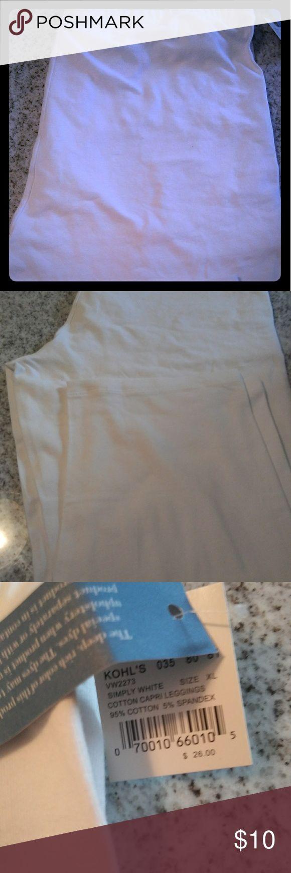 Kohls white Capri leggings White Capri leggings cotton and 5% spandex Kohl's Pants Leggings