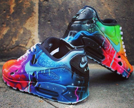 Nike Air Max 90 blauw Galaxy stijl geschilderd Custom schoenen