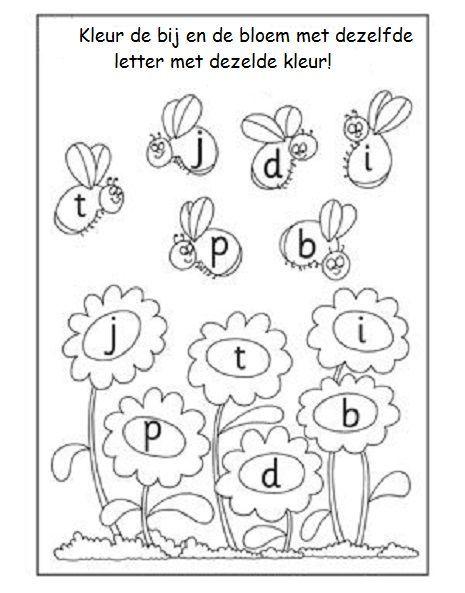 Kleur de bij en de bijbehorende bloem