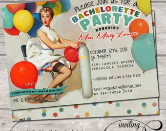 Vintage Pin Up Girl  Invitation Bachelorette party Hens