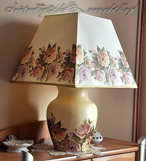 lampa stołowa wykonana metodą serwetkową