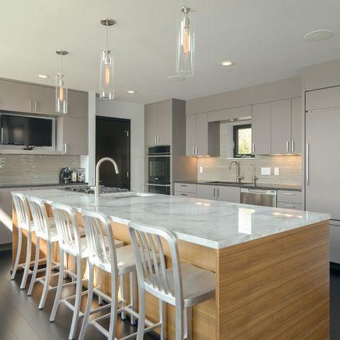Modern Kitchen Island With Sink modern kitchen island bench with seating, tap and sink placement