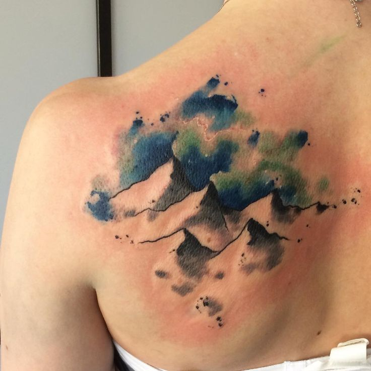 Beautiful Mountains and Northern Lights Tattoo | Venice Tattoo Art Designs