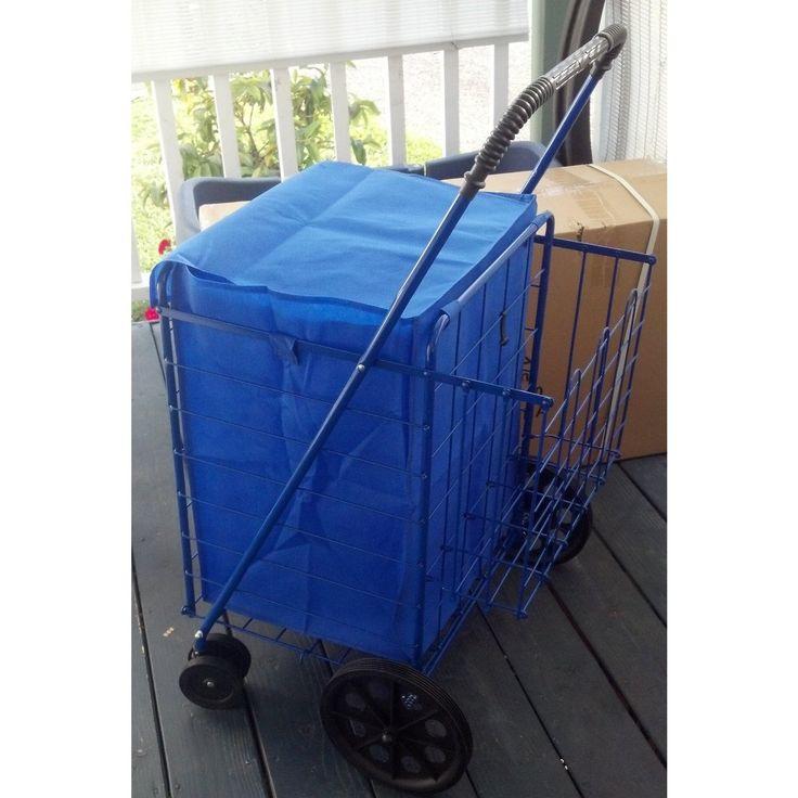 Jumbo 360 Easy-rotating Swivel-wheel Folding Shopping Cart with Liner and Cargo Net