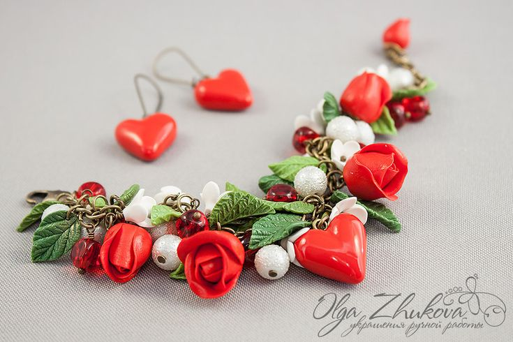 jewelry set with red roses and hearts by polyflowers.deviantart.com on @DeviantArt