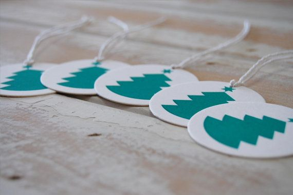 Christmas Tree Letterpress Gift Tags  set of 5 by LittlePeachCo, $10.00