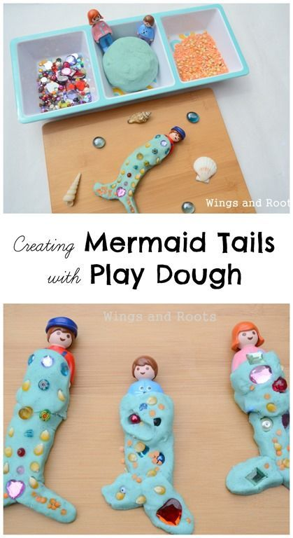 Creating Mermaid tails with play dough