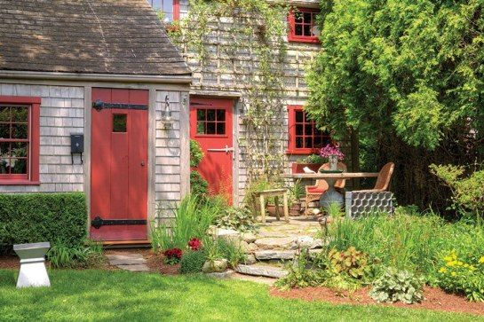 Nantucket Cottages and Gardens: Charming Spaces on the Faraway Isle (Skyhorse Publishing, $35), a new monograph by Nantucket-based author Leslie Linsley, looks at nearly 30 homes that reflect the carefree character of the island. The weathered exterior of this cottage, which looks much the way it did when it was built in the 1800s, is a prime example of Nantucket's rustic allure.