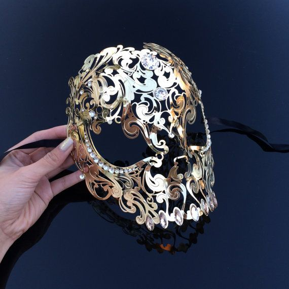 Masquerade Mask, Candy Skull, Candy Skull Mask, Gold Masquerade Mask, Steam Punk Mask, Steampunk Mask, Mardi Gras Masquerade Mask