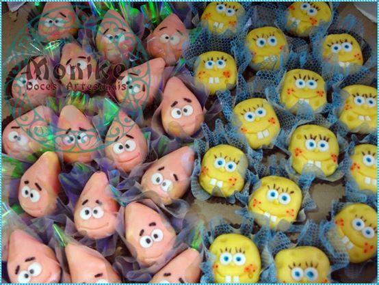 Doces modelados Bob Esponja. Shaped candy Bob Esponja. Doces Ninho.