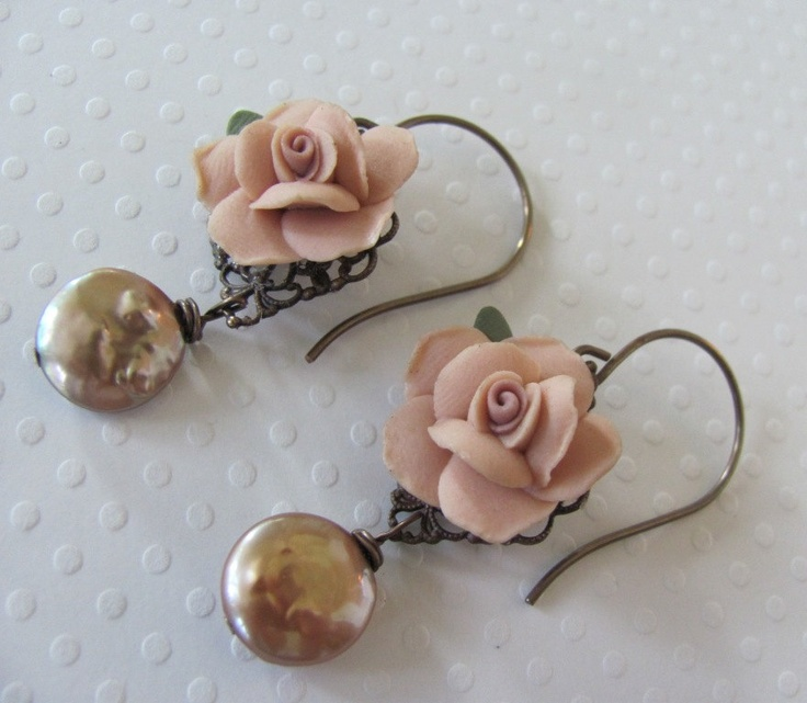 Vintage Ceramic Flower Earrings