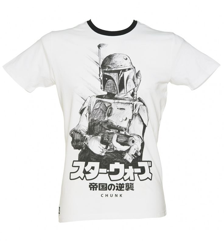 Men's White Japanese Boba Fett Sketch Star Wars Ringer T-Shirt