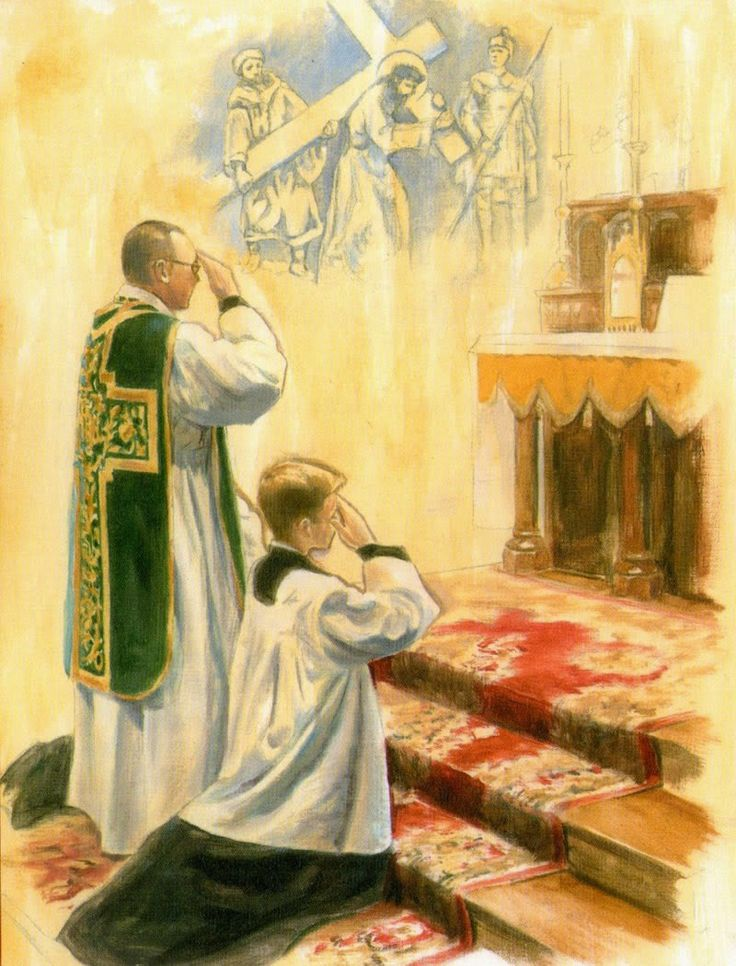 Orações ao pé do Altar Confiteor Kyrie Eleison Gloria in excelsis Deo Dominus vobiscum Epístola Evangelho Credo Início do Ofertório Oferecim...