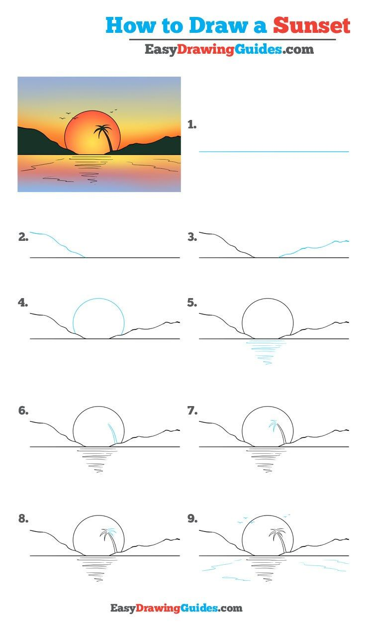 How To Draw A Sunset Really Easy Drawing Tutorial Doodles