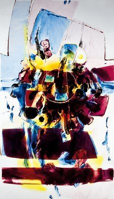Painted glass vitrage, 83,0 x 48,0 cm, 1983
