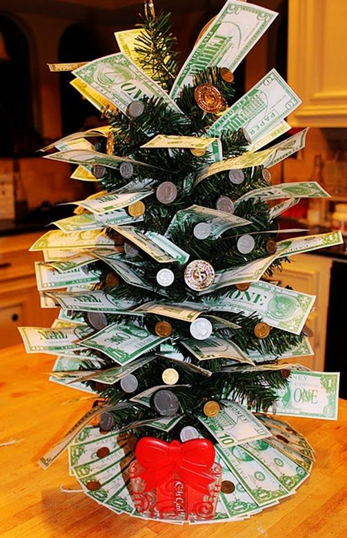 Money Plant Decoration In Living Room: Christmas Tree Decor By Money, 2013 Christmas Money Tree