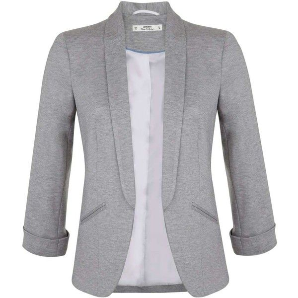 Miss Selfridge Petites Grey Ponte Blazer (£27) ❤ liked on Polyvore featuring outerwear, jackets, blazers, tops, casacos, petite, silver grey, miss selfridge jackets, ponte blazer and gray blazer