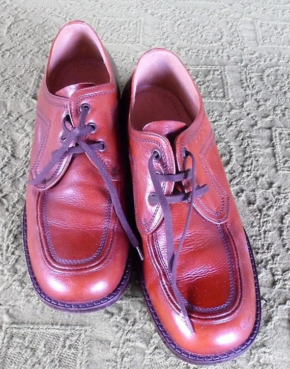 MENS Leather Oxford Laceups / Vintage 1960s Red Ox Blood
