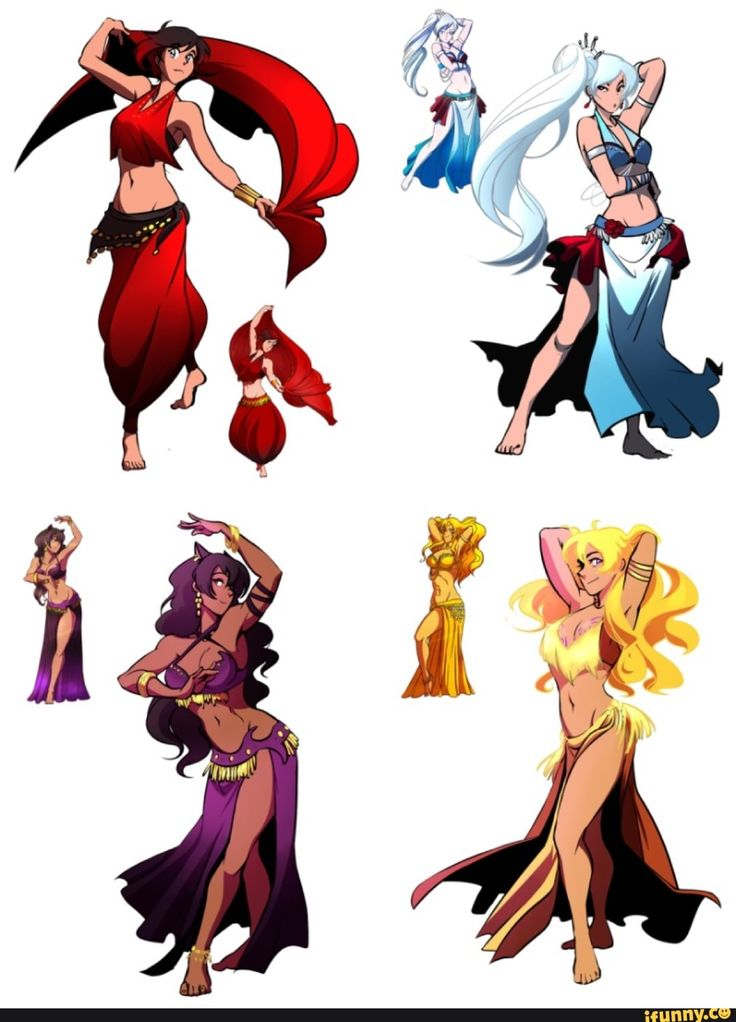 RWBY: Belly Dancers Redraw - Ruby, Weiss, Blake, & Yang