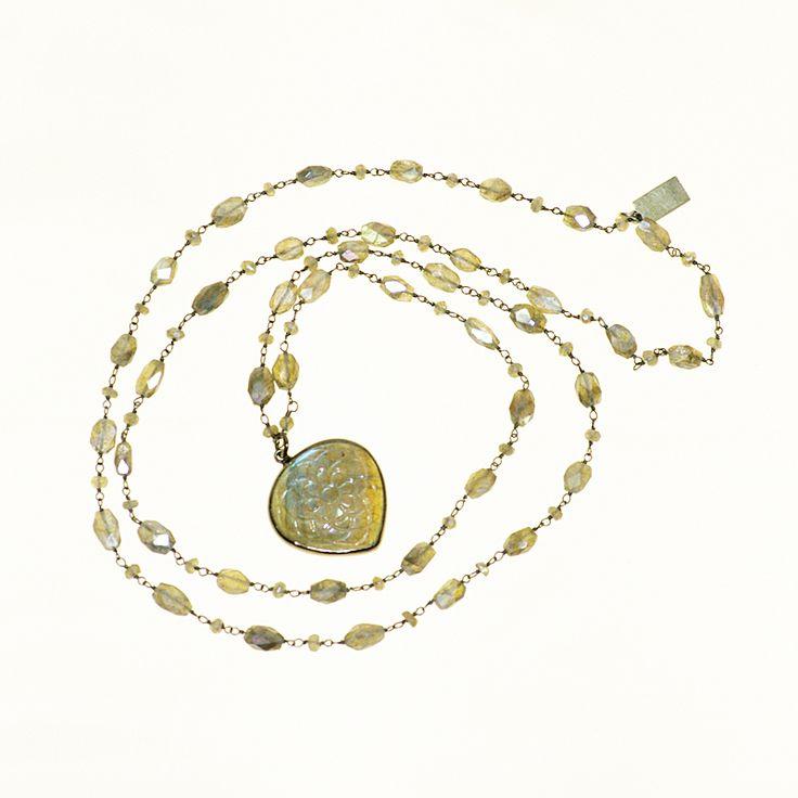 Carved Labradorite Pendant and Gem Chain (DN649LK) $225  Unique Jewellery and Gemstones :: Skanda :: Victoria & Duncan -