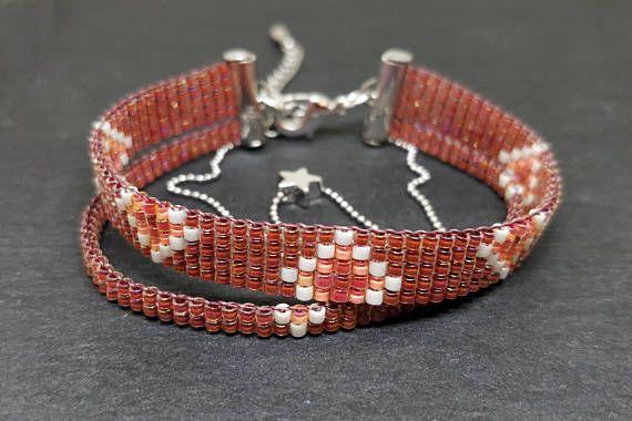 Dark sandstone color loomed bracelet/ Loom beaded jewelry/