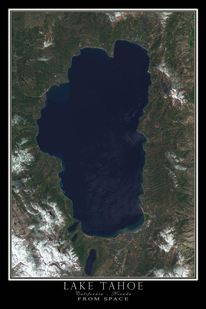 Lake Tahoe California Nevada Satellite Poster Map