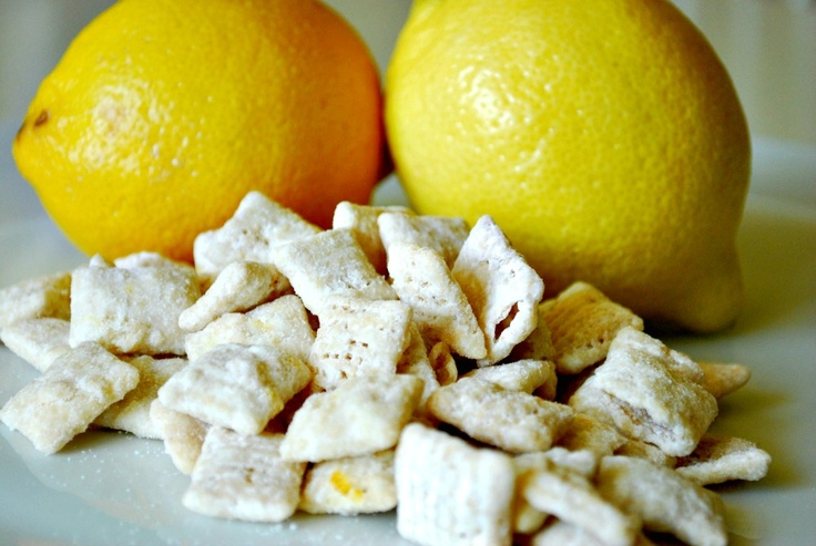 Lemonade Chex Mix 9 cups rice Chex 1 1/2 cups white chocolate chips 1/4 cup unsalted butter 4 tsp lemon zest 2 TBS lemon juice 2 cups powdered sugar: Desserts, Lemonade Chex, Sweet, Food, Recipes, Chex Mix, Snacks, Appetizer, Lemonade Stand