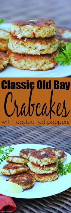 Classic Old Bay Crab Cakes with Roasted Red Peppers   Home & Plate   www.homeandplate.com   The secret to these classic crab cakes is that the succulent crab meat is mixed with just the right amount of crunchy Panko breadcrumbs.