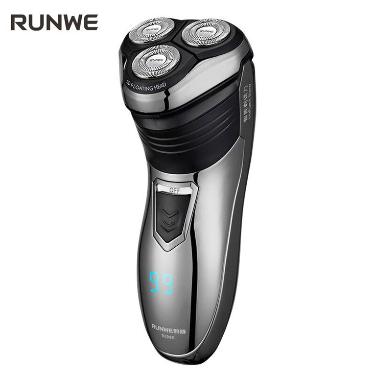 RUNWE 1.5 hour Charge Men Electric Shaver 100-240V Rechargeable Electric Shaver 3D Triple Floating Blade Heads Shaving Razors #Affiliate