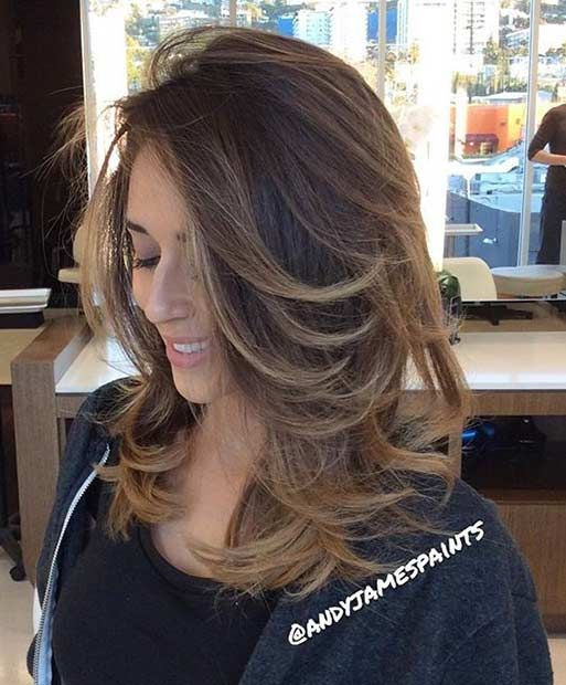 Medium Length Blowout Hair with Soft Balayage Highlights