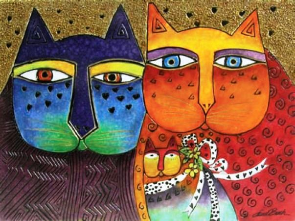 Image Detail for - Laurel Burch Decor - Feline Family RLB-09021