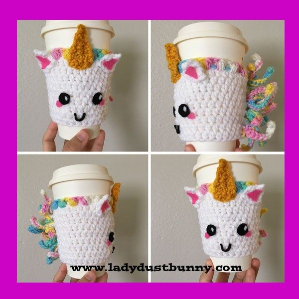 Unicorn Coffee Sleeve By Gabrielle of LadyDustBunny and Crochet Homeschool   If you would like the printable PDF version, click here! http://www.ladydustbunny.com   http://www.crochethomeschool.com   Materials: Worsted Weight Yarn: White, mane color (rainbow), Gold (horn) Felt: black, white, and pink (for eyes, ears, and mouth) Fabritac glue Hook: 4.00mm Puff Stitch: Yarn Over, insert hook …