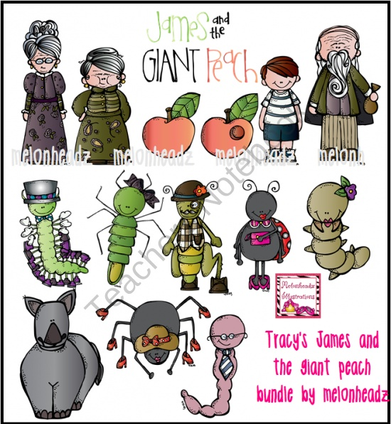 Tracy's James and the giant peach bundle product from Melonheadz-Illustrations on TeachersNotebook.com