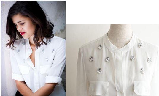 Украшение блузы бусинами: мастер класс  Простая белая блузка, ка чистый холст для художника, предоставляет поле для создания настоящего ювелирного украшения. Перекраиваить и перешивать ничего не потребуется.