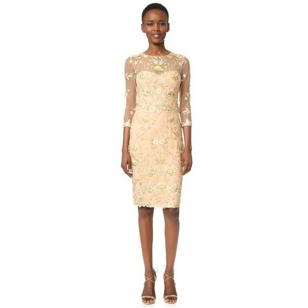 Marchesa Notte Threadwork Embroidered Cocktail ($790) ❤ liked on Polyvore featuring dresses, nude, holiday cocktail dresses, sweetheart neckline cocktail dress, embroidered dresses, mesh cocktail dress and nude dress