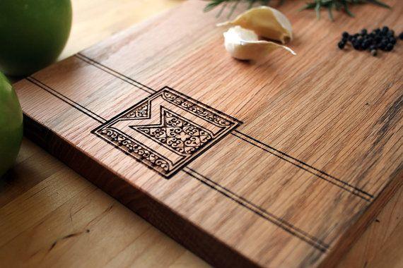 Custom Monogram Medium Rustic Modern Wood Cutting Board