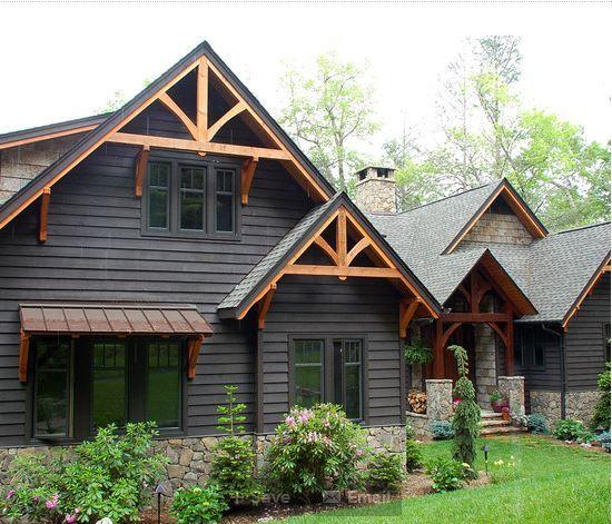 Gables And False Trusses Rustic Houses Exterior Black